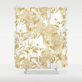 just goats gold Shower Curtain