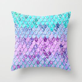 Mermaid Scales with Unicorn Girls Glitter #9 #shiny #decor #art #society6 Throw Pillow
