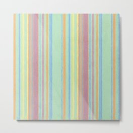 Retro Color Stripes Grunge Primitive Stripe Metal Print