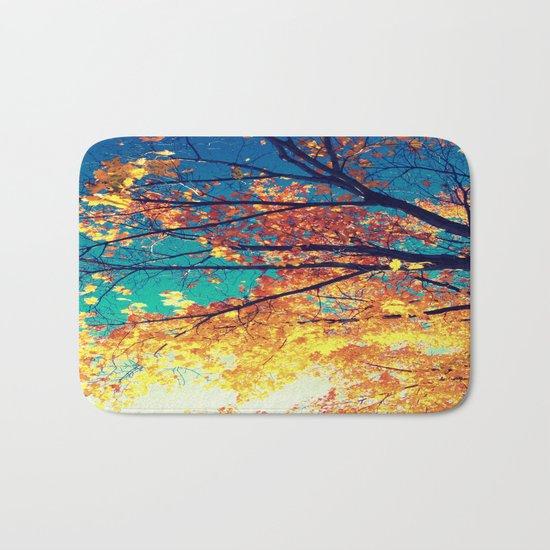AutuMN Golden Leaves Teal Sky Bath Mat