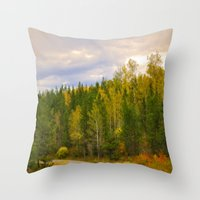 ashton irwin Throw Pillows featuring Ashton Idaho - The Road Less Traveled by IMAGETAKERS