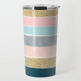 Zara - minimal gold navy pink pastel stripes painterly boho decor trendy gifts Travel Mug