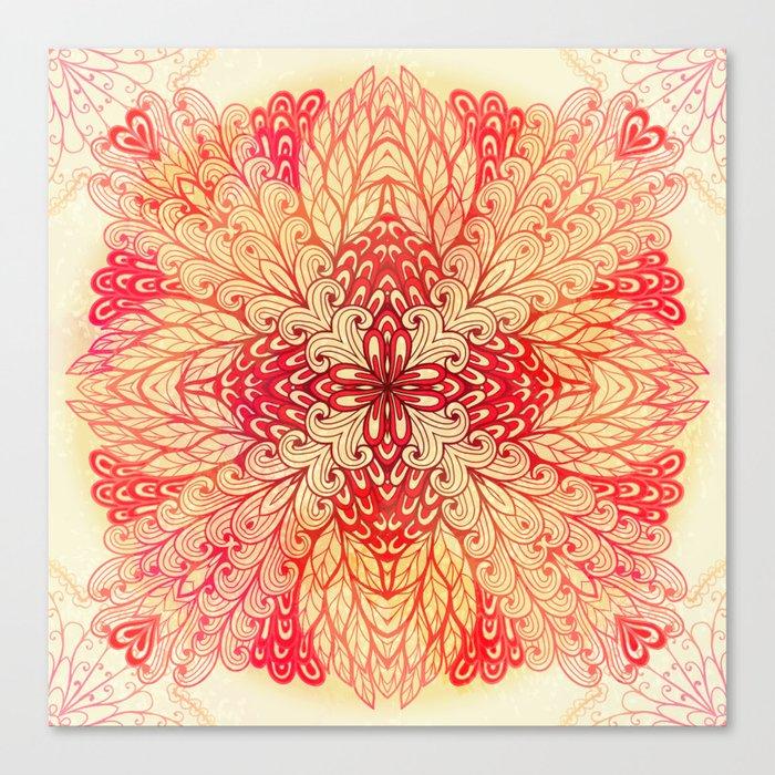 Hand Drawn Floral Mandala 02 Canvas Print