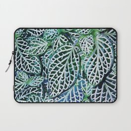 Tropical Leaves Fittonia Nerve Plant #watercolor #decor #society6 #pattern Laptop Sleeve