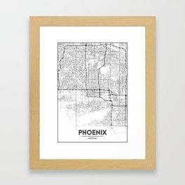 Minimal City Maps - Map Of Phoenix, Arizona, United States Framed Art Print