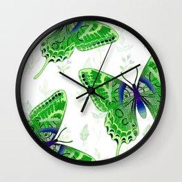 Beautiful Green Butterflies Flowers Garden Wall Clock