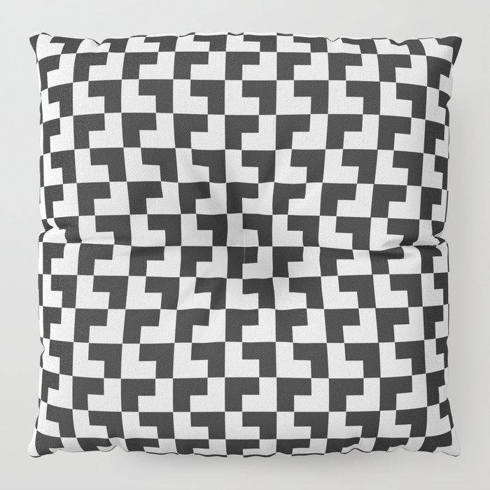 Black and White Tessellation Pattern - Graphic Design Floor Pillow