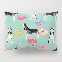 Husky donuts cute dog portrait pet friendly dog art husky puppies must have gifts for dog lover Pillow Sham
