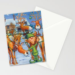 Elf Karl and the Reindeer Stationery Cards