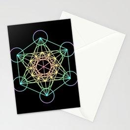 Metatron's Cube- Rainbow on Black Stationery Cards