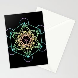 Metatron's Cube- Rainbow on Black Stationery Cards