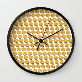 Orange Oranges Halves on White Wall Clock