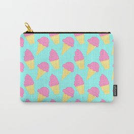 Pink Ice Cream on Blue Carry-All Pouch