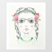 frida kahlo Art Prints featuring frida kahlo by Lisa Bulpin