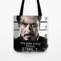 tony stark Tote Bags featuring Tony Stark jailed by MkY111
