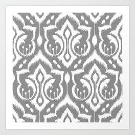 Ikat Damask Gray Art Print