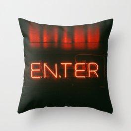 Neon sign inspiration - ENTER Throw Pillow