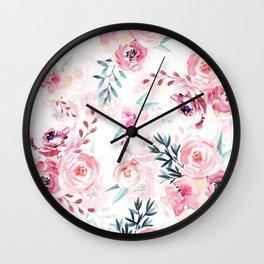 Pink Watercolor Florals I Wall Clock