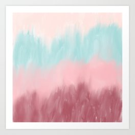 Burgundy blush pink teal watercolor ombre brushstrokes Art Print