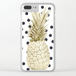 Gold Pineapple on Black and White Polka Dots Clear iPhone Case