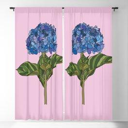 Blue Hydrangea on Pink Background Blackout Curtain
