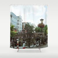 bicycles Shower Curtains featuring Bicycles, Bicycles by Emily O