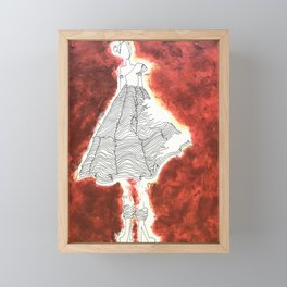 Gesture Lady in Dress, Red Framed Mini Art Print