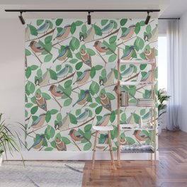 Birds and Leaves Wall Mural