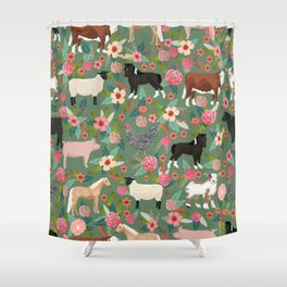 Farm gifts chickens cattle pigs cows sheep pony horses farmer homesteader Shower Curtain