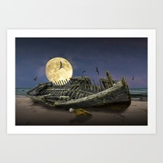 Moon and Wooden Shipwreck with Gulls Art Print