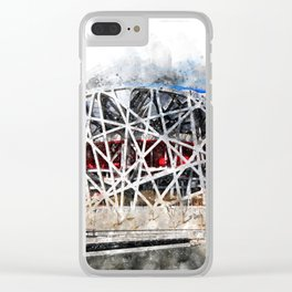 Beijing National Stadium Aquarell Clear iPhone Case
