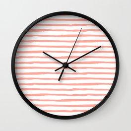 Pink Drawn Stripes Wall Clock