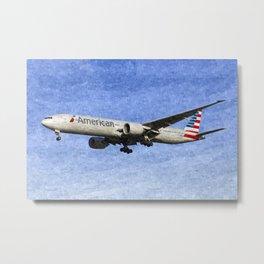 American Airlines Boeing 777 Art Metal Print