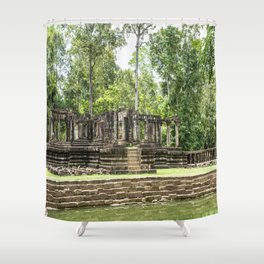 Pool & Structure of Baphuon Temple II, Angkor Thom, Siem Reap, Cambodia Shower Curtain