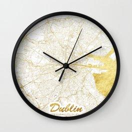 Dublin Map Gold Wall Clock