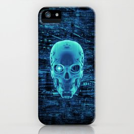 Gamer Skull BLUE TECH / 3D render of cyborg head iPhone Case