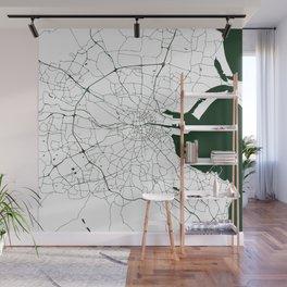 White on Dark Green Dublin Street Map Wall Mural