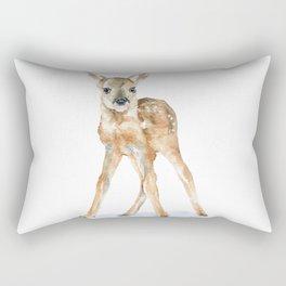Deer Fawn Standing -Horizontal format - Watercolor Painting Rectangular Pillow
