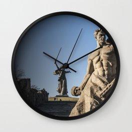 Volgograd Men Monuments The Motherland Calls, Mamayev Kurgan Cities Man Wall Clock