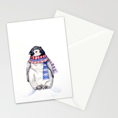 Baby Penguin in Red and Blue Scarf. Winter Season Stationery Cards