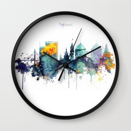 Oakland California Blue  skyline print Wall Clock