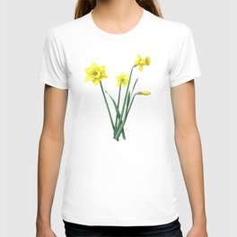 Yellow Daffodils Botanical Illustration T-shirt