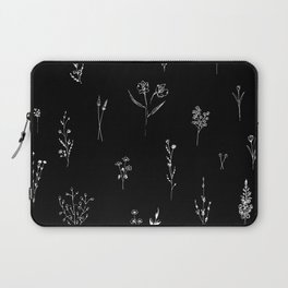 Black wildflowes Big Laptop Sleeve