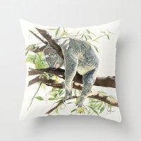 koala Throw Pillows featuring Koala by Patrizia Donaera ILLUSTRATIONS