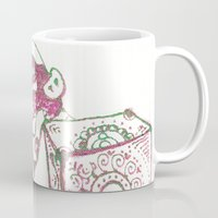 piglet Mugs featuring 12. Lovely Piglet with Heart Pattern by Hennaart yume by kat