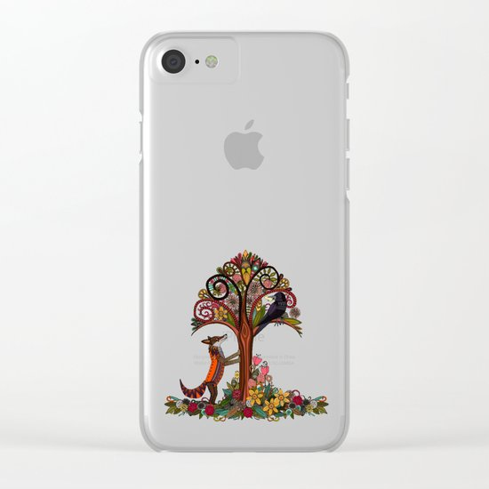 fox and crow Clear iPhone Case