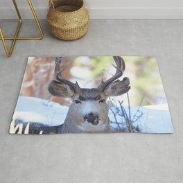 Watercolor Deer, Mule 08, RMNP, Colorado, How Ya Doin? Rug
