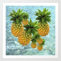pineapples Art Prints featuring Pineapples by Erika Kaisersot