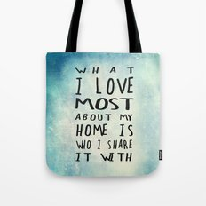 What I like about my home Tote Bag