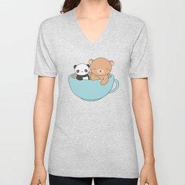 Kawaii Cute Brown Bear and Panda Unisex V-Neck